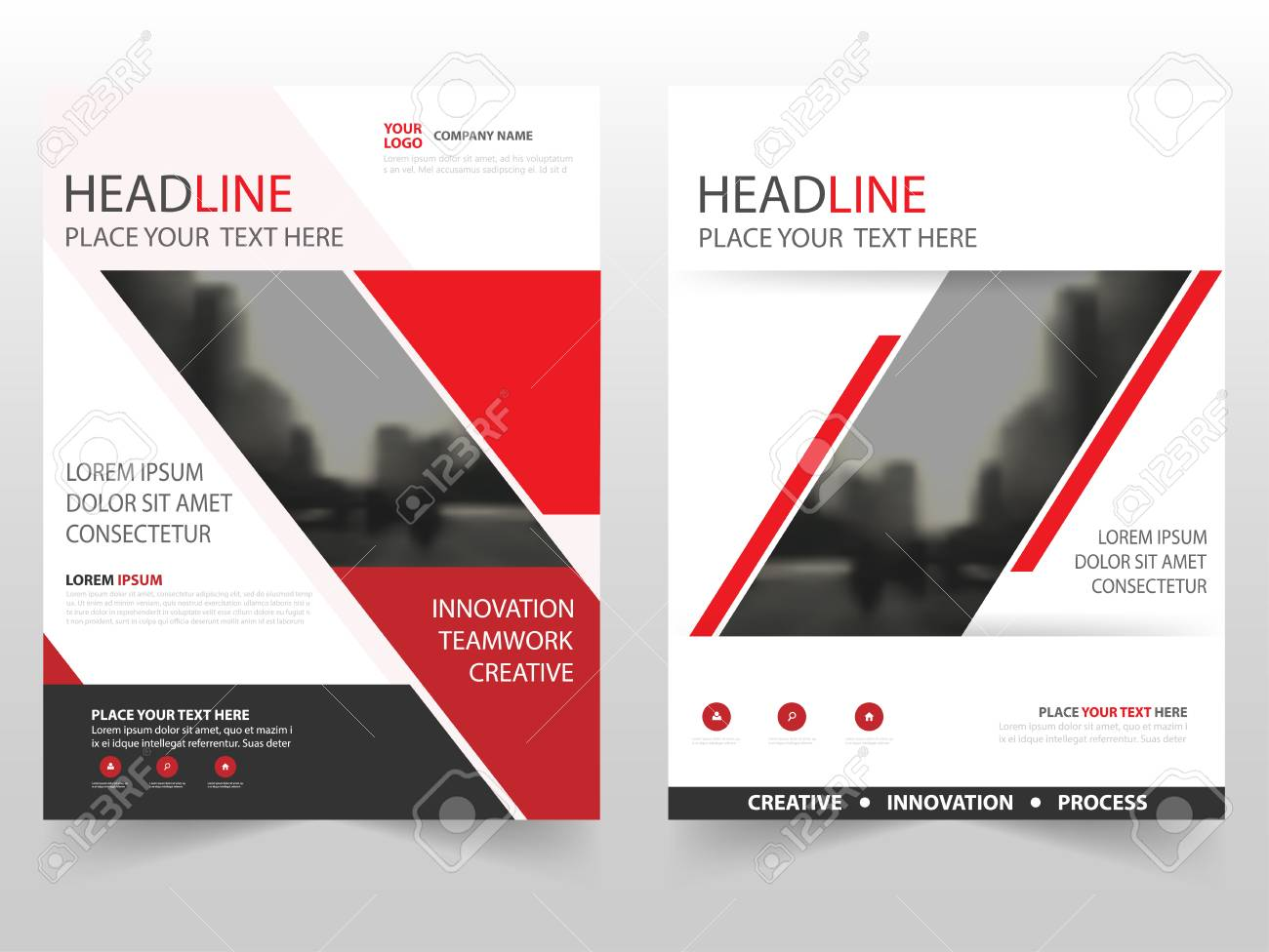 red black business brochure leaflet flyer annual report template