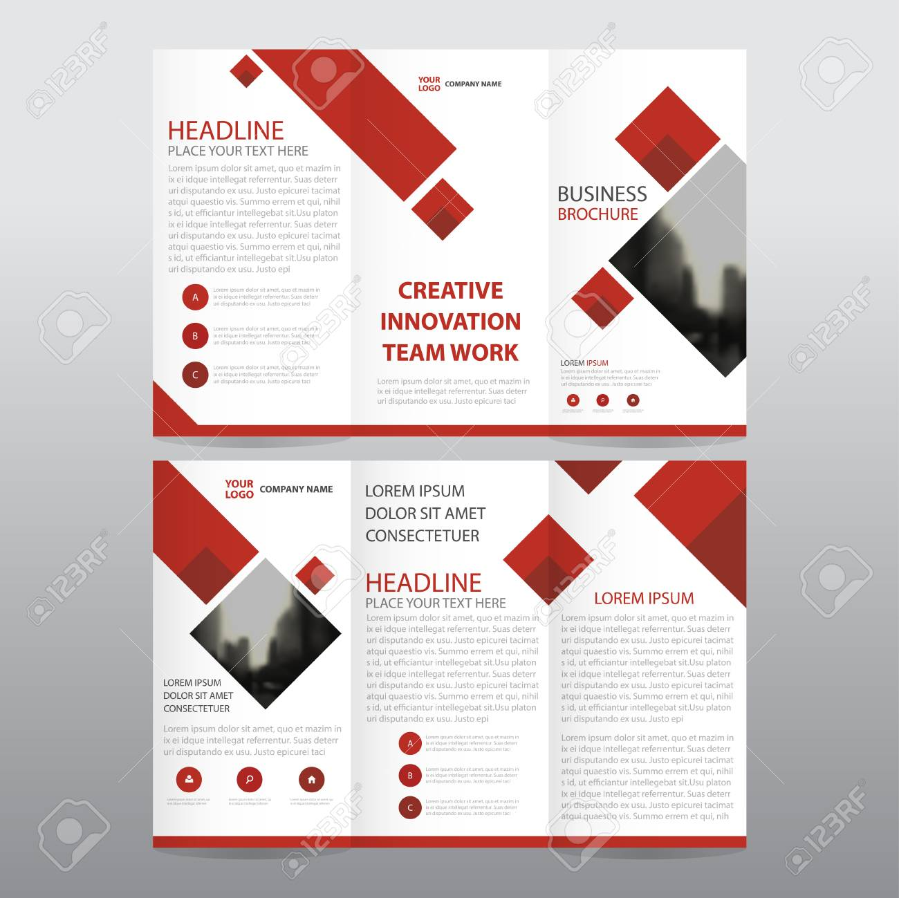 Red Square Business Trifold Leaflet Brochure Flyer Report Template ...