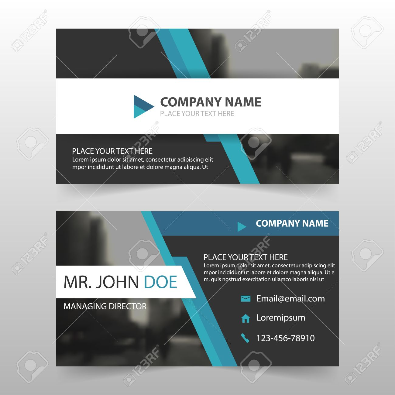 Blue Black Corporate Business Card, Name Card Template ,horizontal ...