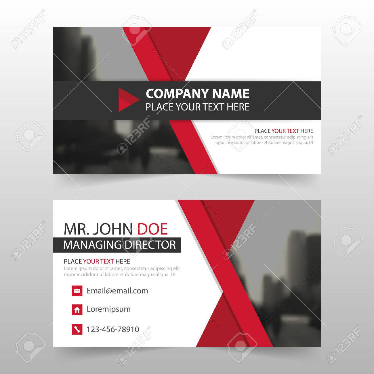 red black corporate business card name card template horizontal