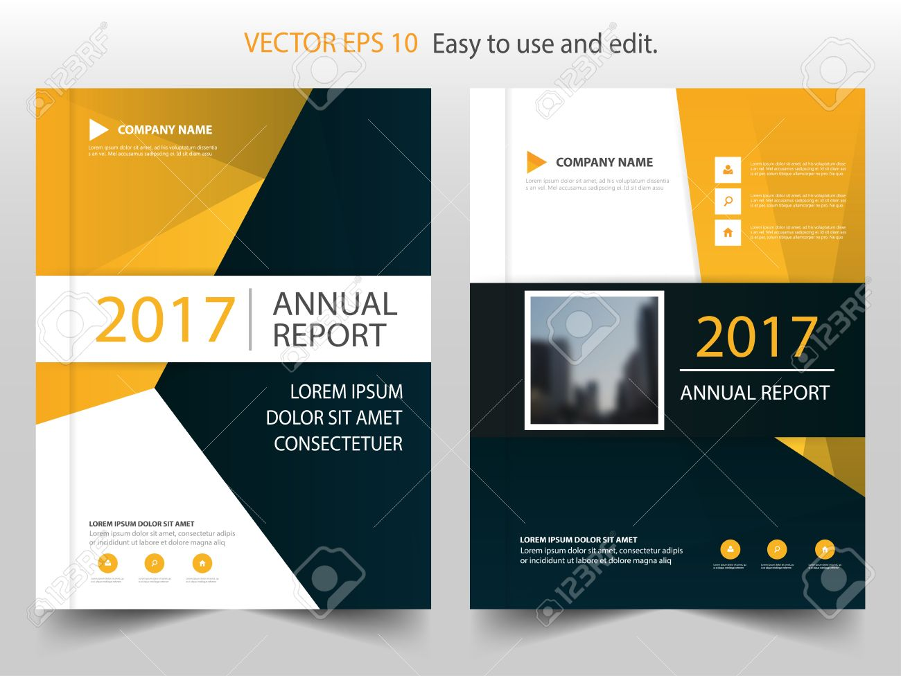 Yellow Black Abstract Annual Report Brochure Design Template – Annual Report Brochure