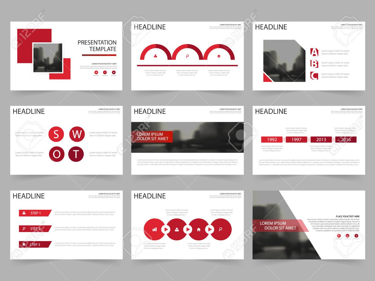 Red Square Abstract Presentation Templates, Infographic Elements ...