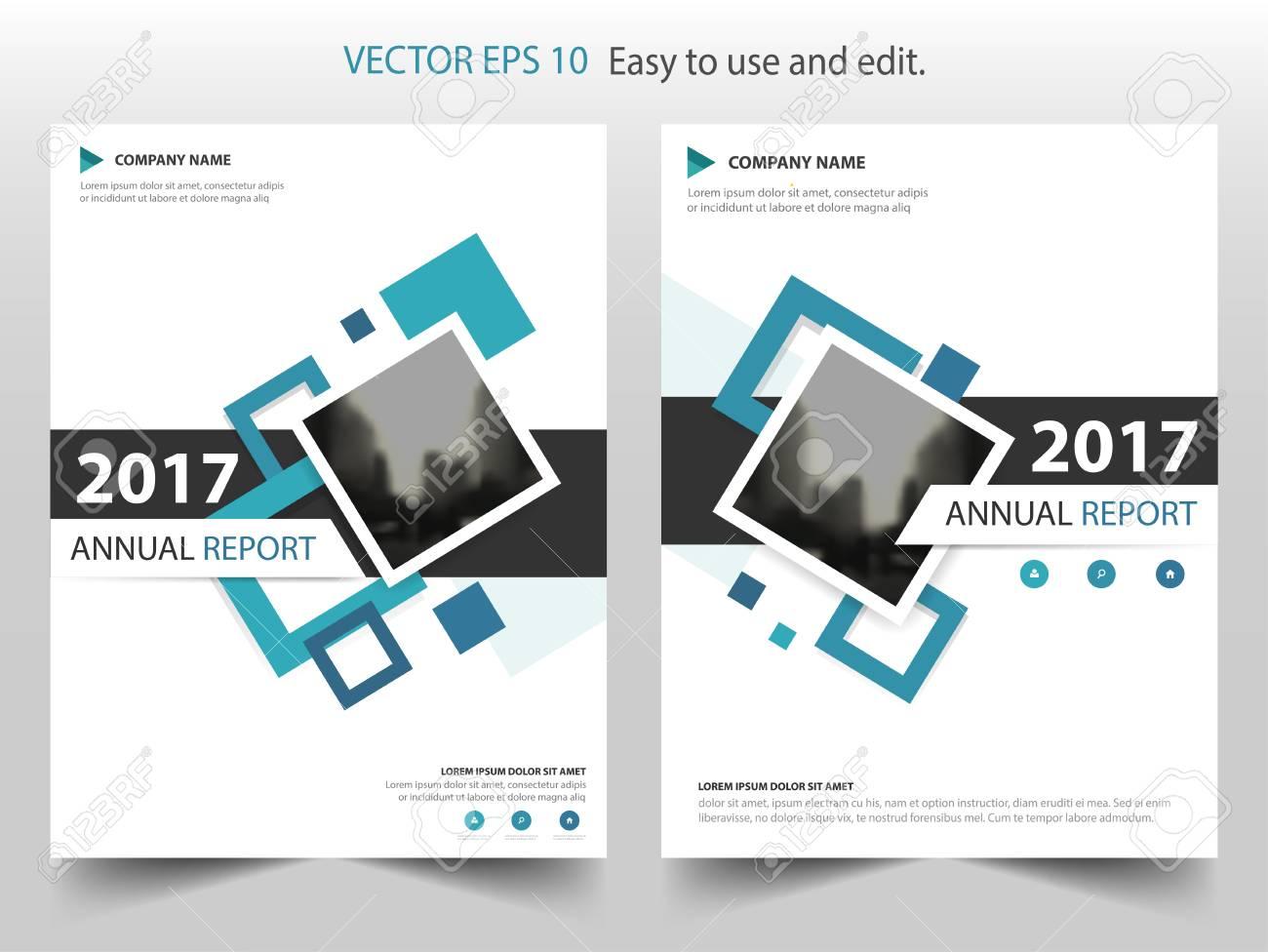 blue square annual report leaflet brochure flyer template design