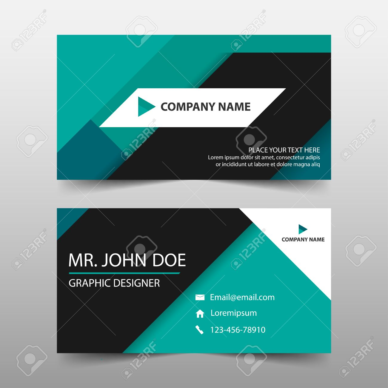 Green Corporate Business Card, Name Card Template ,horizontal ...