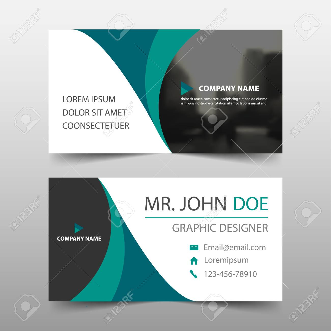 Green Curve Corporate Business Card Name Card Template Horizontal