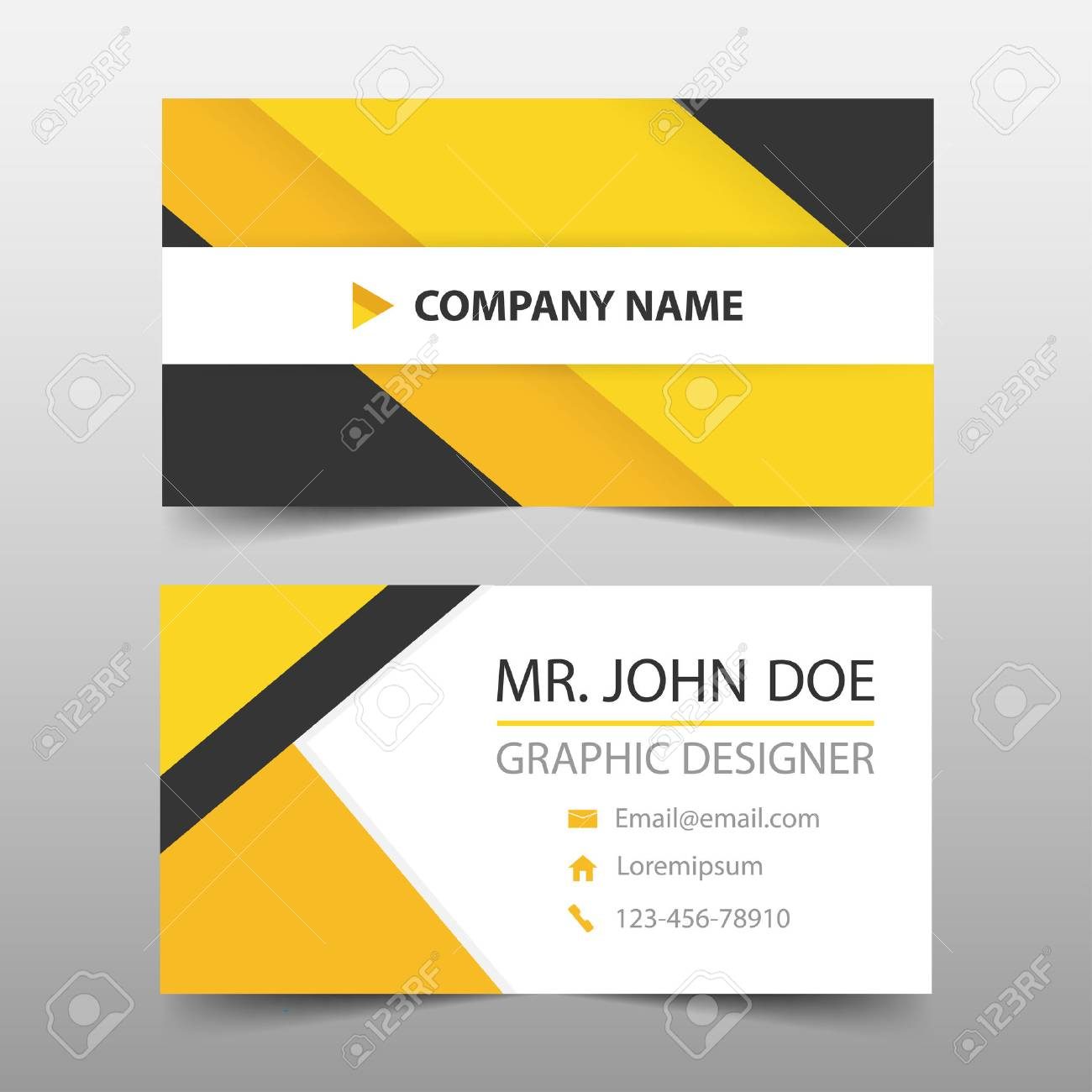 Yellow Black Corporate Business Card, Name Card Template ,horizontal ...