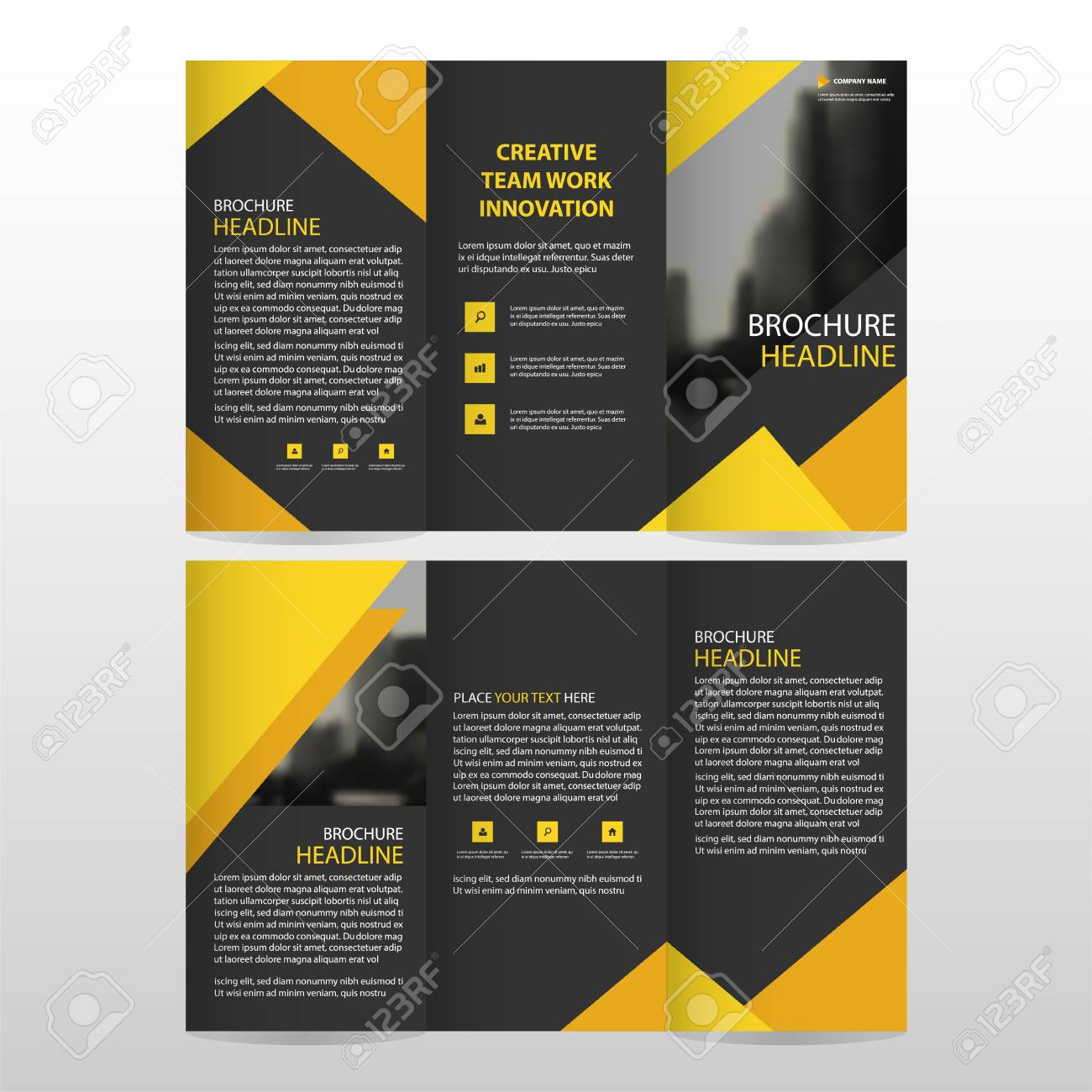 yellow black triangle business trifold leaflet brochure flyer