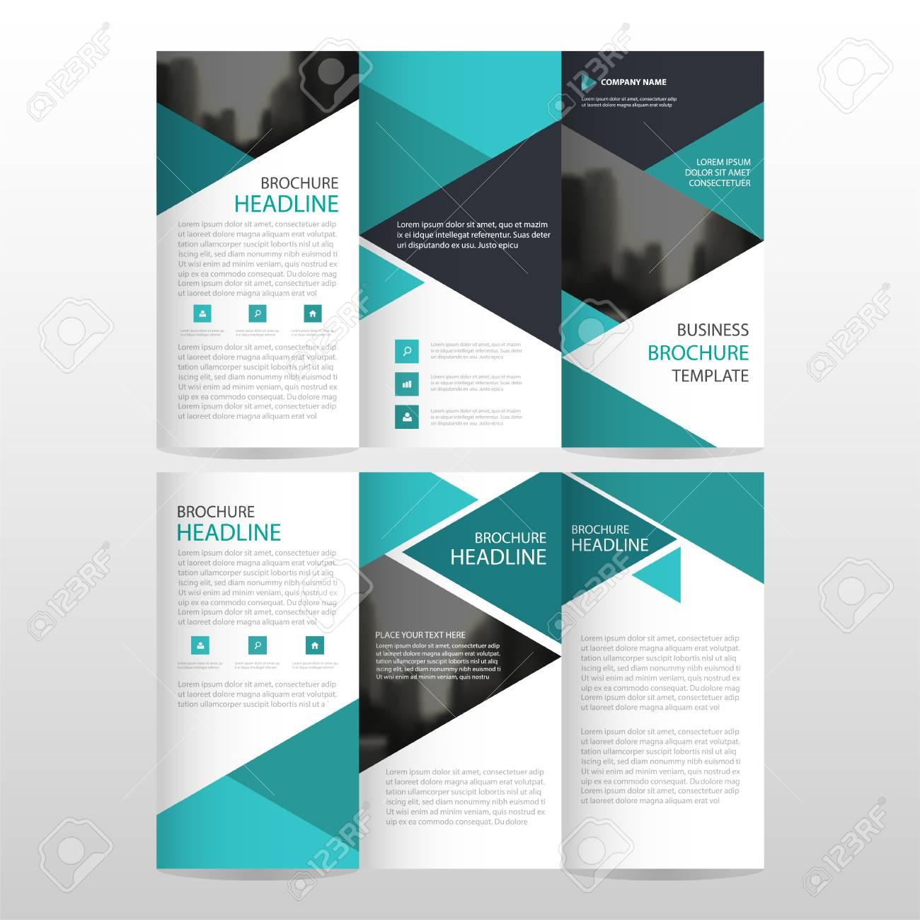 azul tríptico negocio triángulo folleto folleto flyer plantilla de