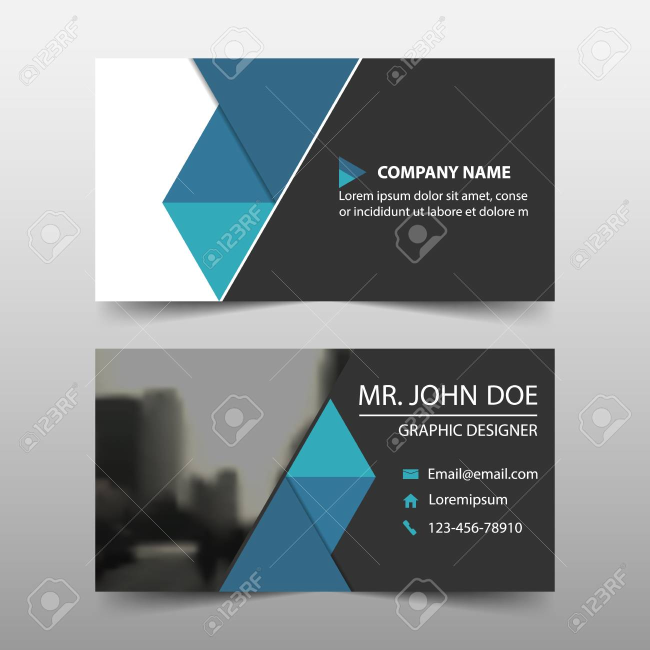 Blue Triangle Corporate Business Card Name Template Horizontal Simple Clean Layout Design