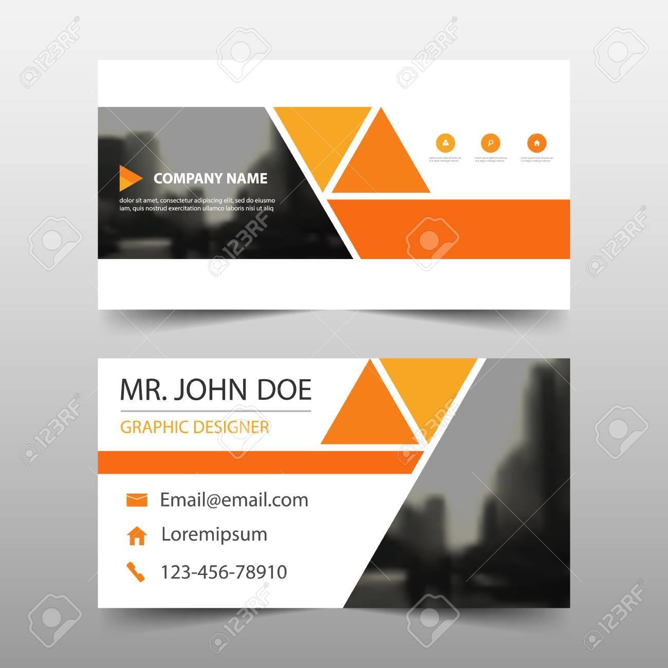 Orange Triangle Corporate Business Card, Name Card Template ...