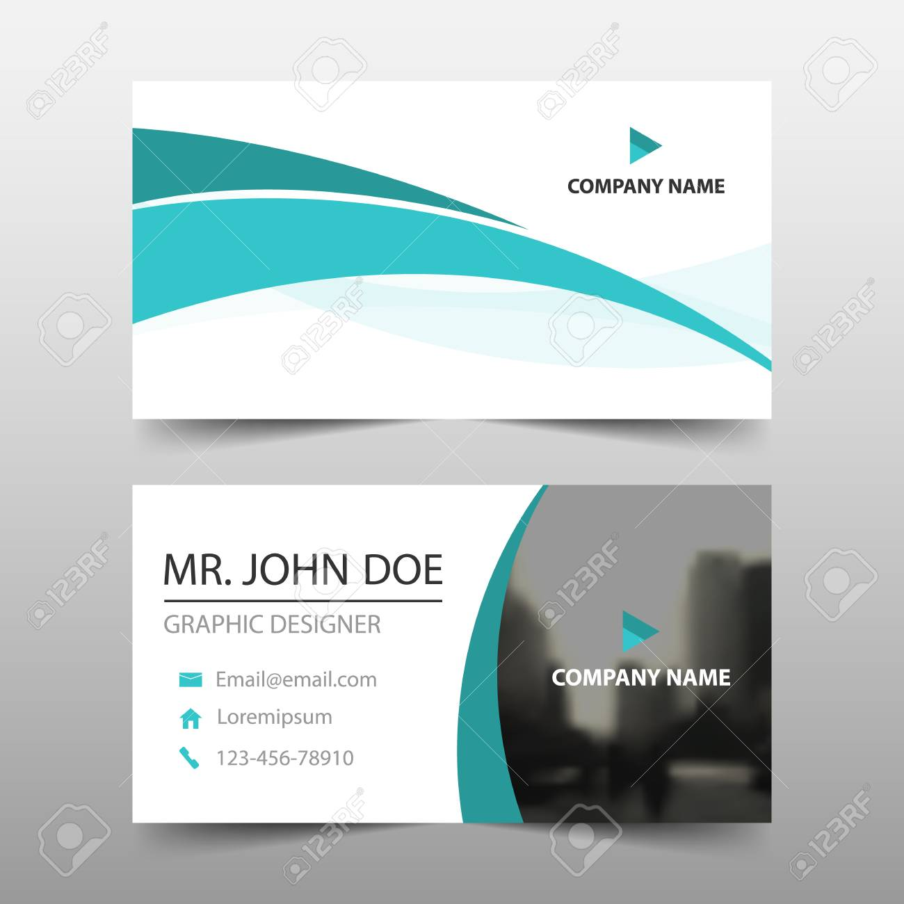 Green Wave Corporate Business Card, Name Card Template ,horizontal ...