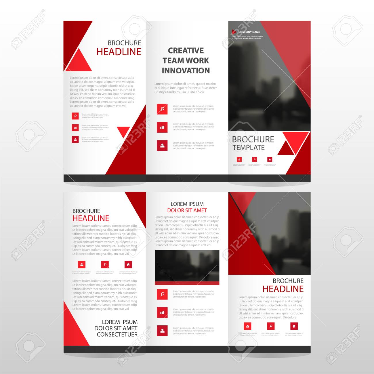 Red Triangle Business Trifold Leaflet Brochure Flyer Report Template ...