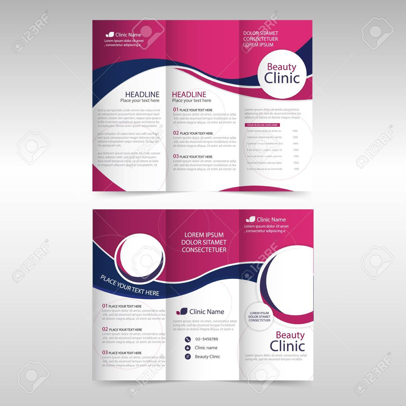 pink purple circle business trifold leaflet brochure flyer report