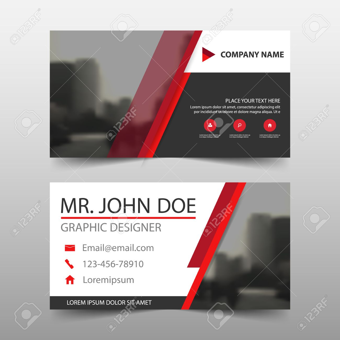 Red black corporate business card name card template horizontal red black corporate business card name card template horizontal simple clean layout design template reheart Choice Image