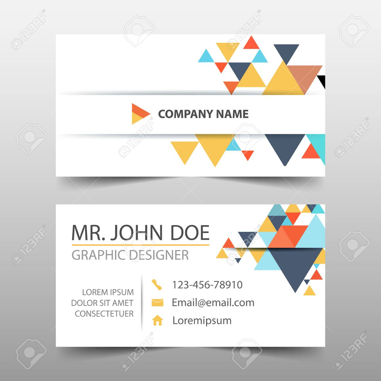 Colorful Triangle Corporate Business Card Name Card Template - Name banner template