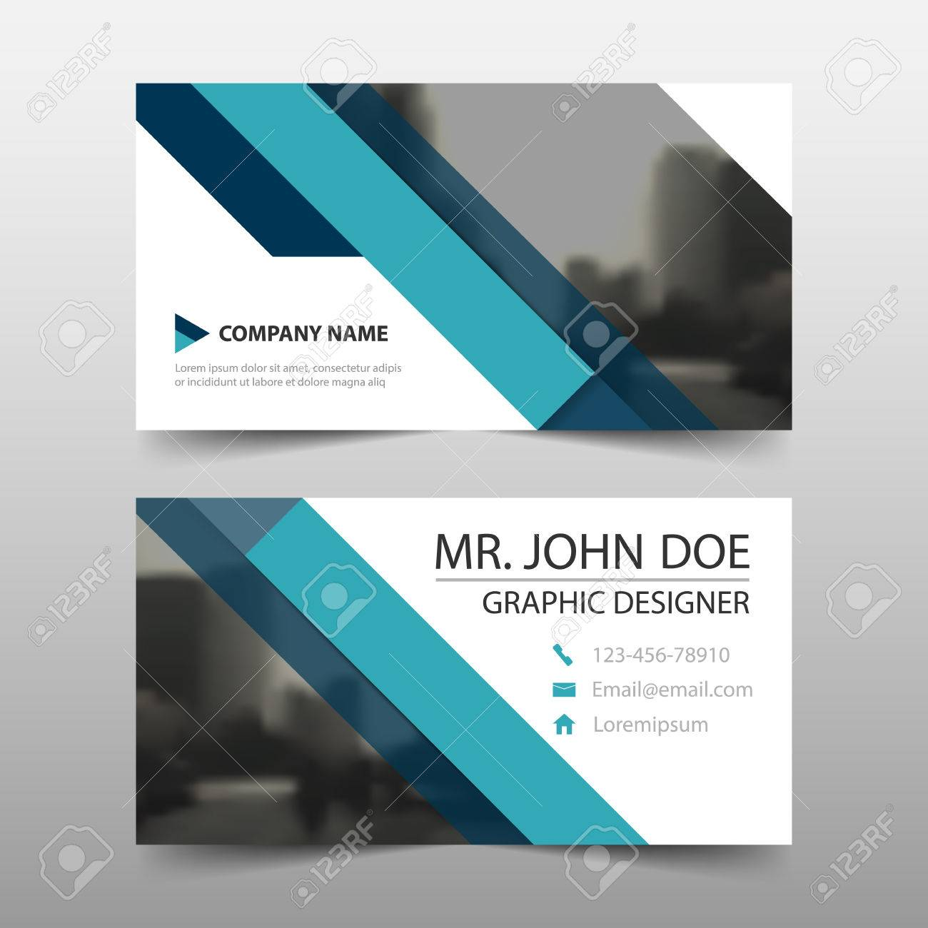Blue triangle corporate business card name card template blue triangle corporate business card name card template horizontal simple clean layout design template colourmoves