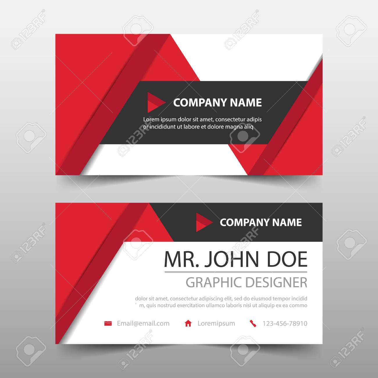 Red triangle corporate business card name card template horizontal red triangle corporate business card name card template horizontal simple clean layout design template wajeb Choice Image