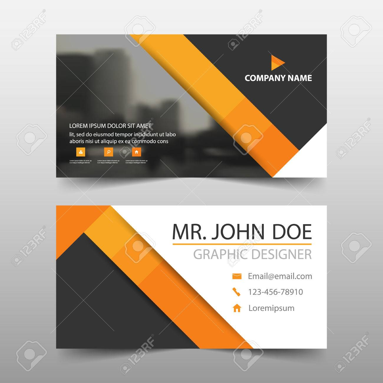 orange triangle corporate business card name card template