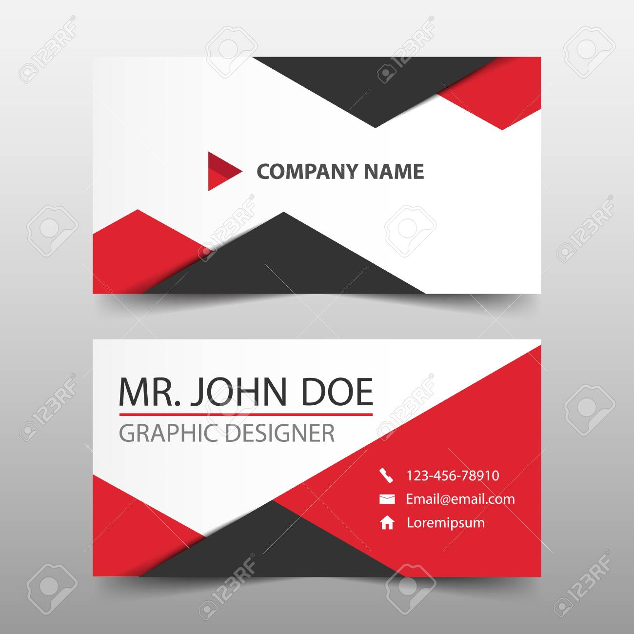 Red triangle corporate business card name card template horizontal red triangle corporate business card name card template horizontal simple clean layout design template reheart Gallery