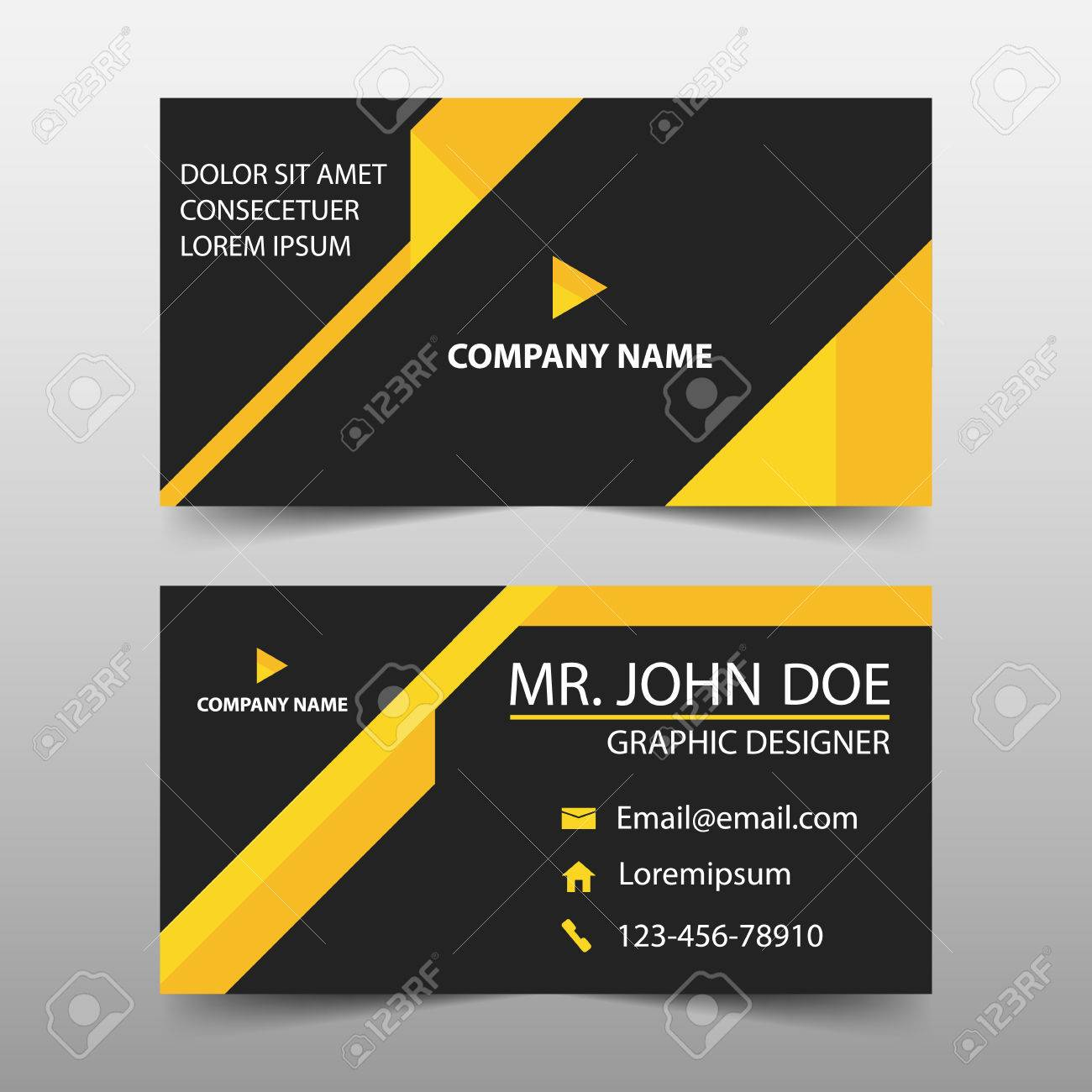 Yellow Triangle Corporate Business Card Name Card Template - Website business card template