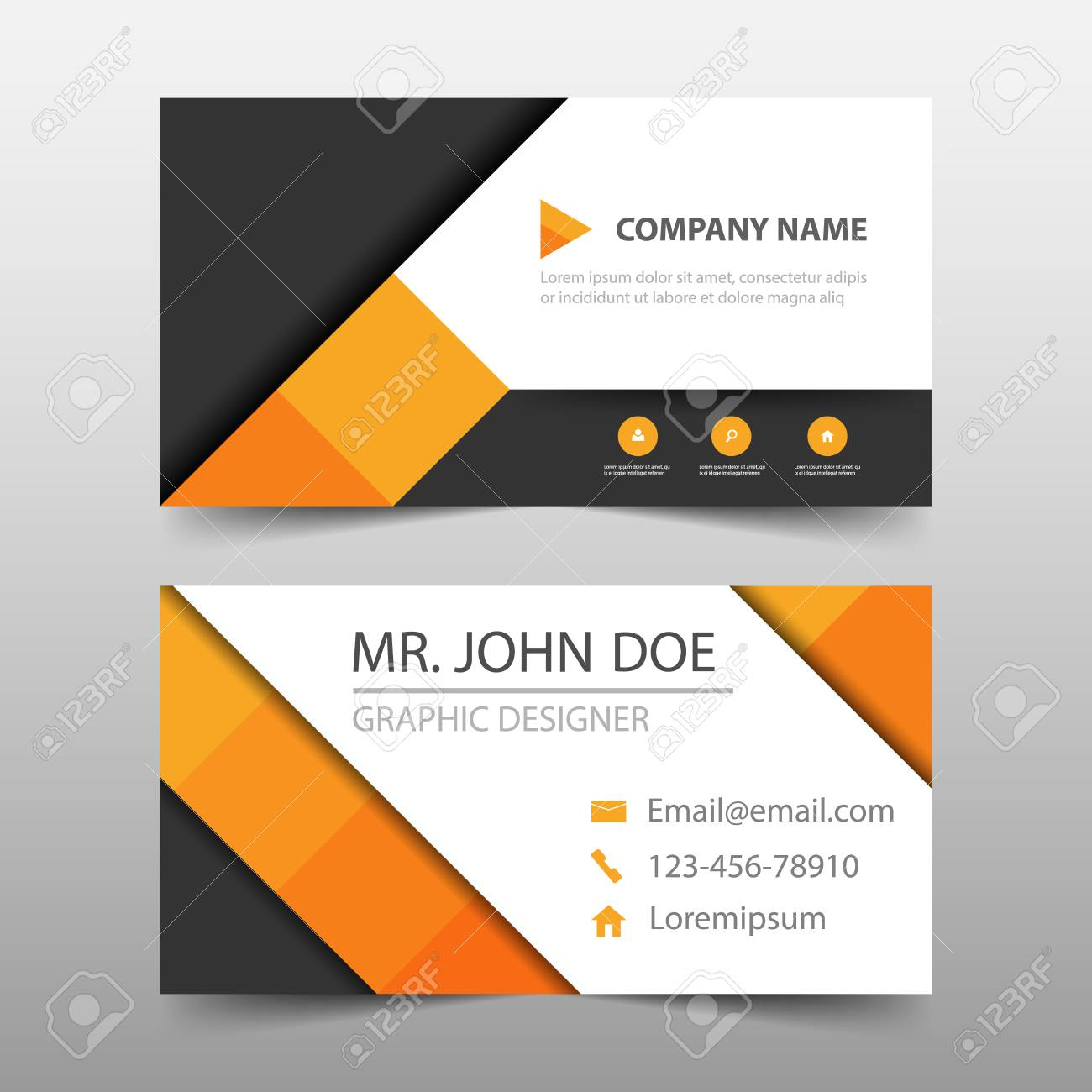 Orange Square Corporate Business Card Name Template Horizontal Simple Clean Layout Design