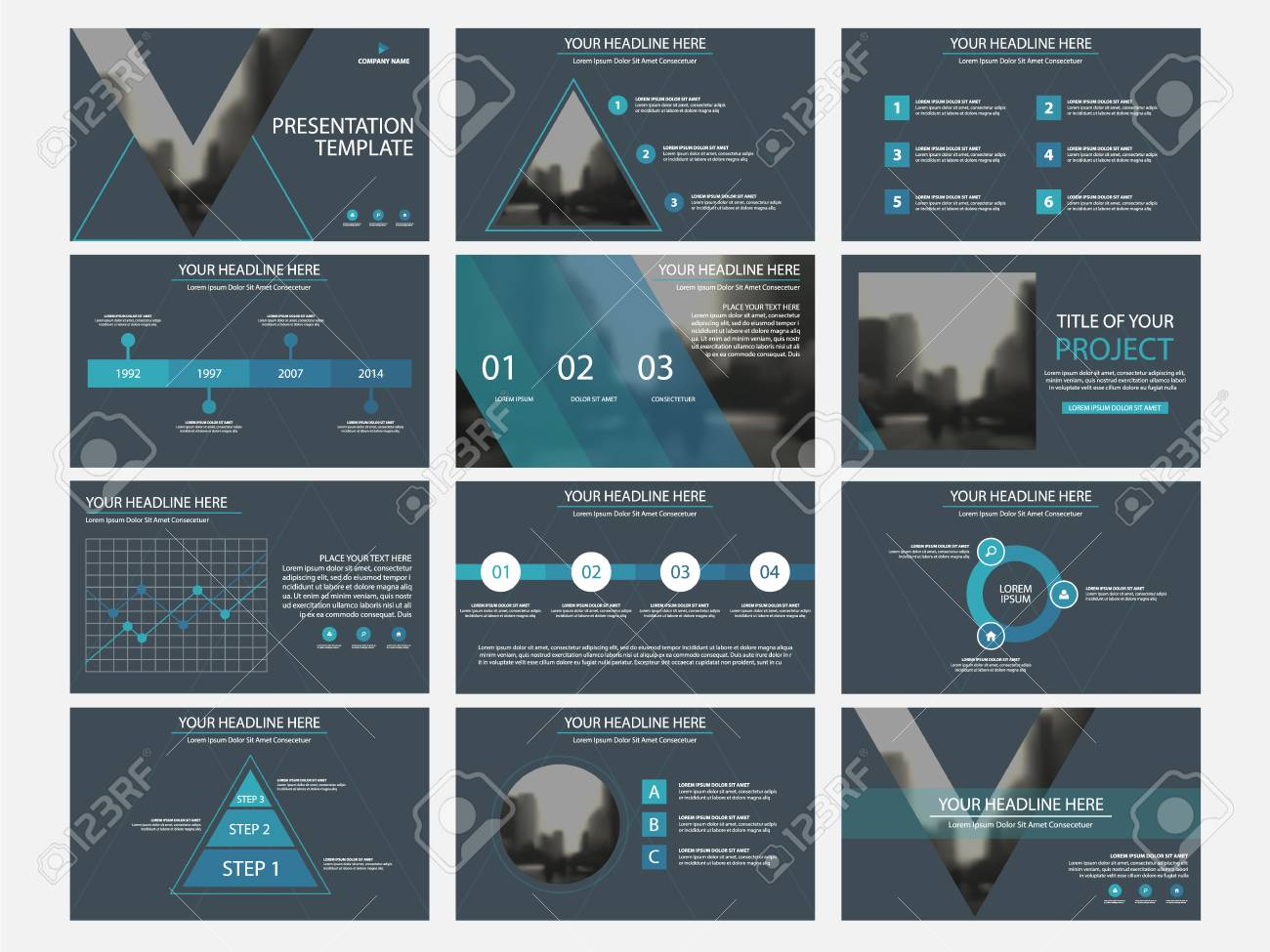 Business presentation infographic elements template set, annual report corporate horizontal brochure design template. - 85215847