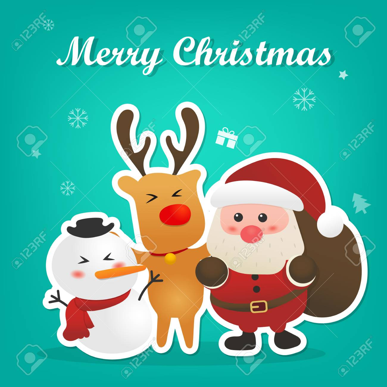 Merry Christmas And Happy New Year With Cute Santa Claus Snowman ...