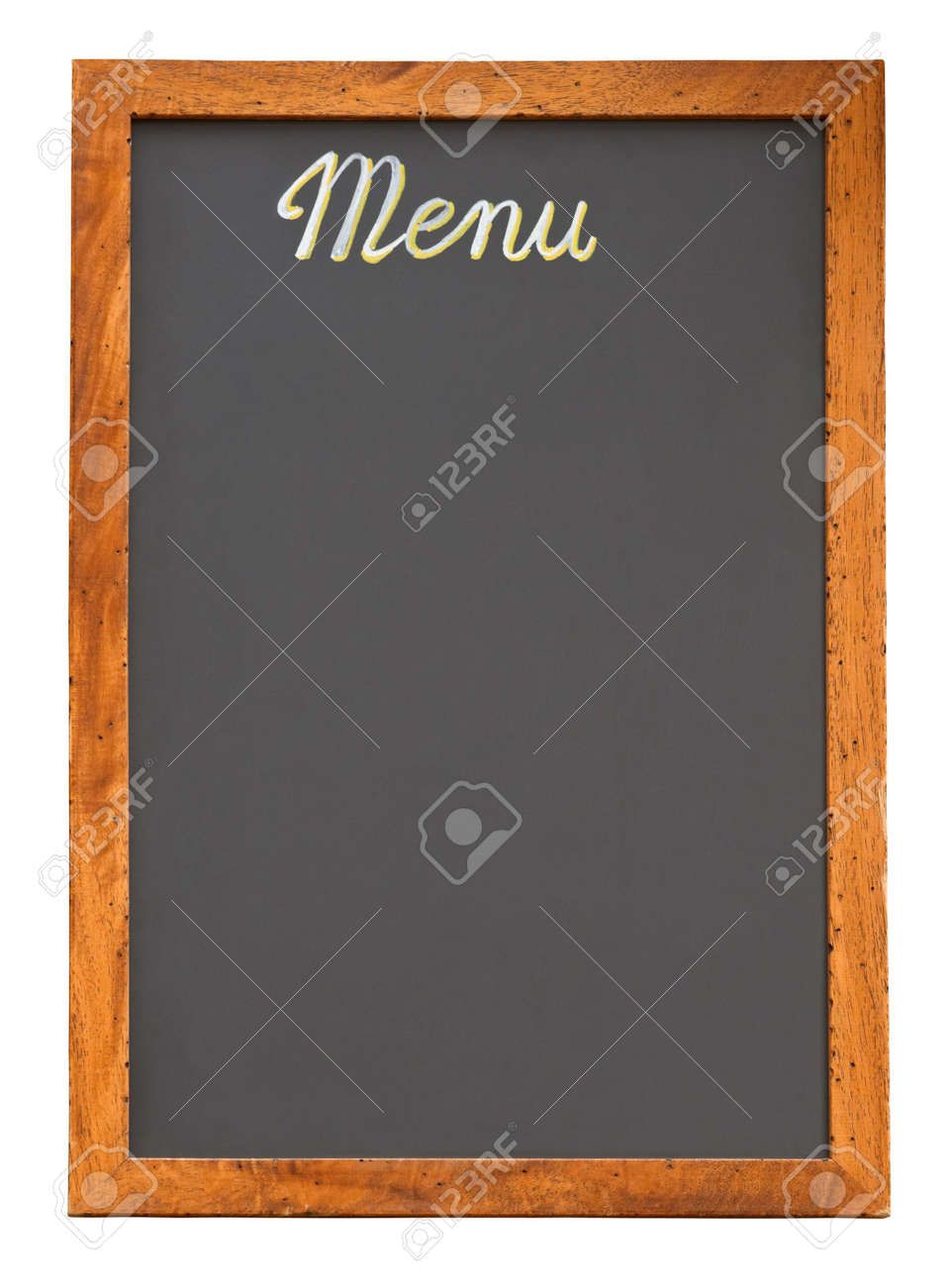 Empty restaurant menu chalkboard isolated on white with clipping path Stock Photo - 3204712