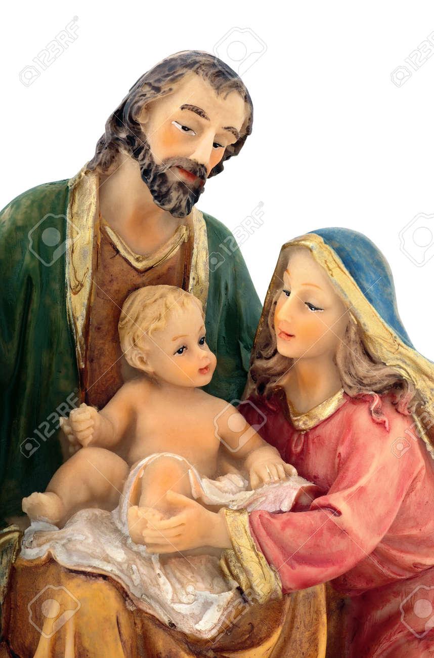 holy family closeup joseph virgin mary and baby jesus figurine