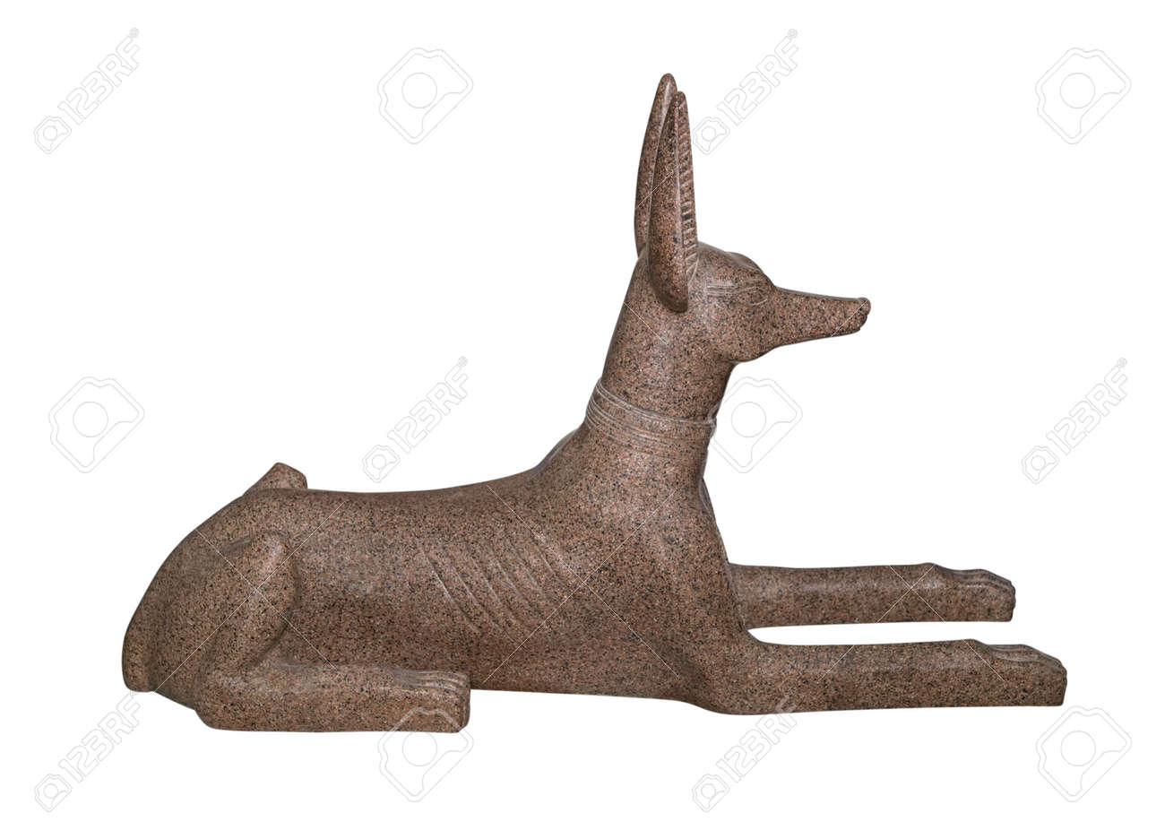 Egyptian souvenir, Anubis, God of Dead, made of pink granite, isolated on white background Stock Photo - 6293985