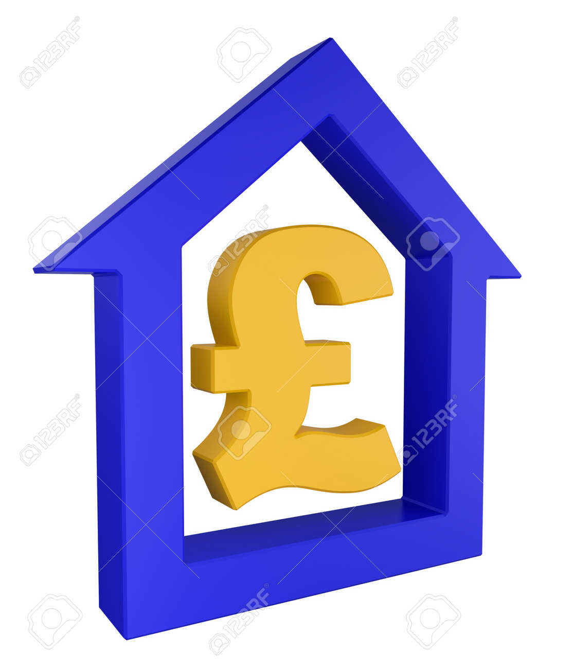 House Icon With Pound Great Britain Currency Symbol Stock Photo