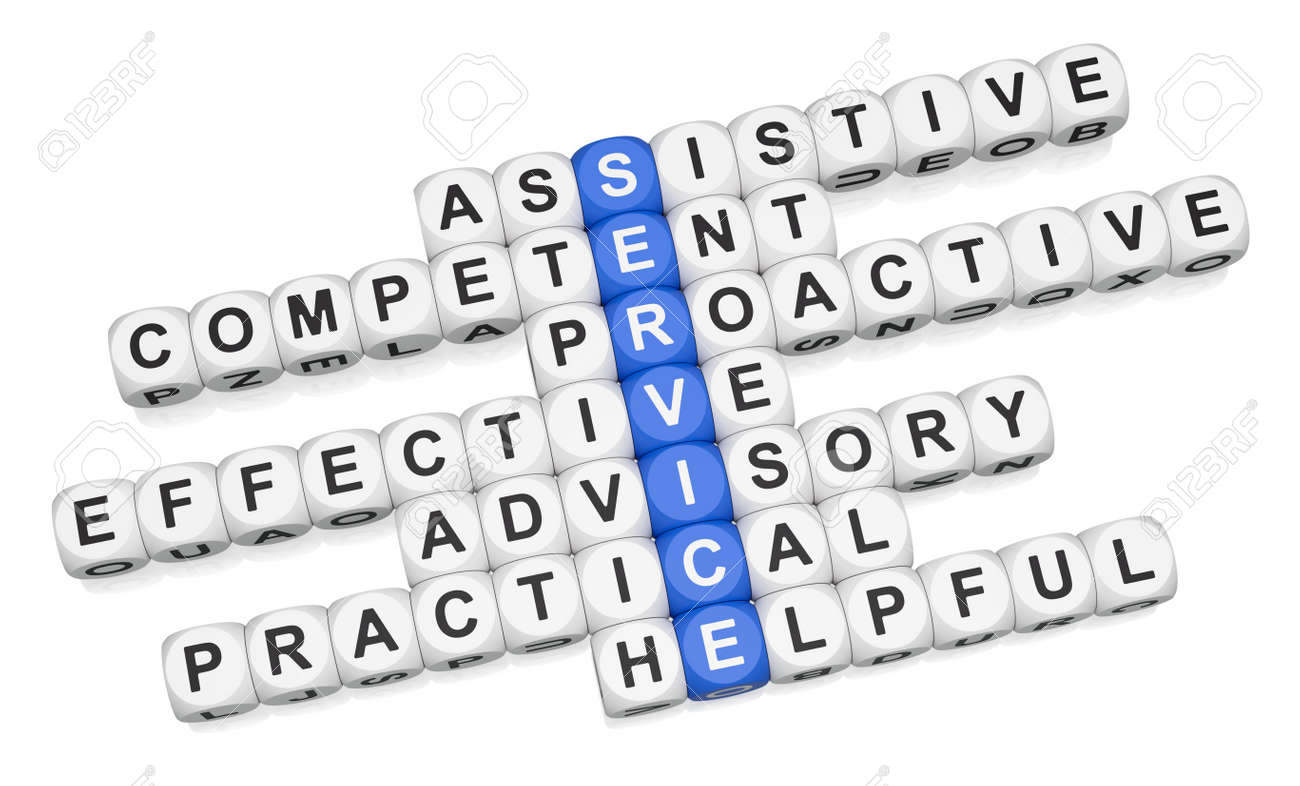 Quality service features crossword on white background 3d render Stock Photo - 9346718