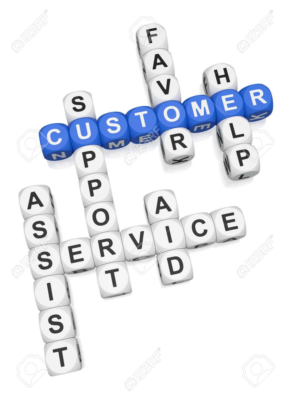 Customer assist crossword on white background 3d render Stock Photo - 9346715