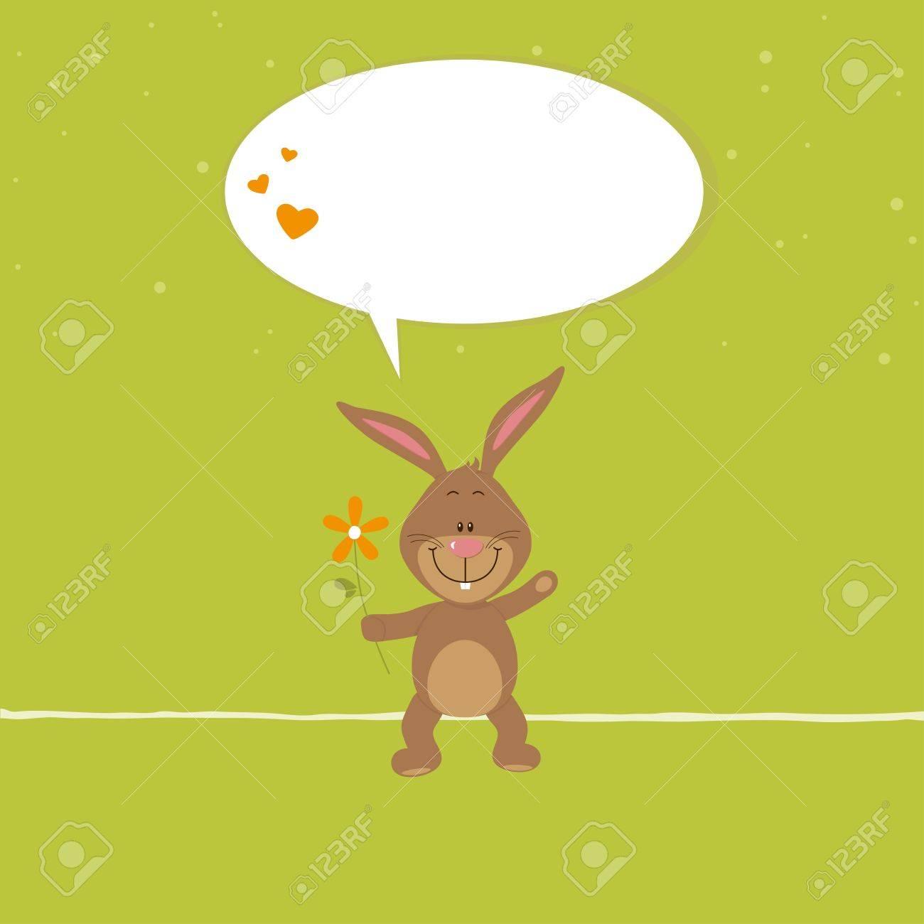 Lovely bunny with orange flower Stock Vector - 17993667