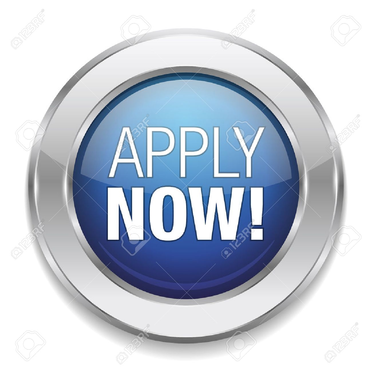 Round blue apply now button - 22603356