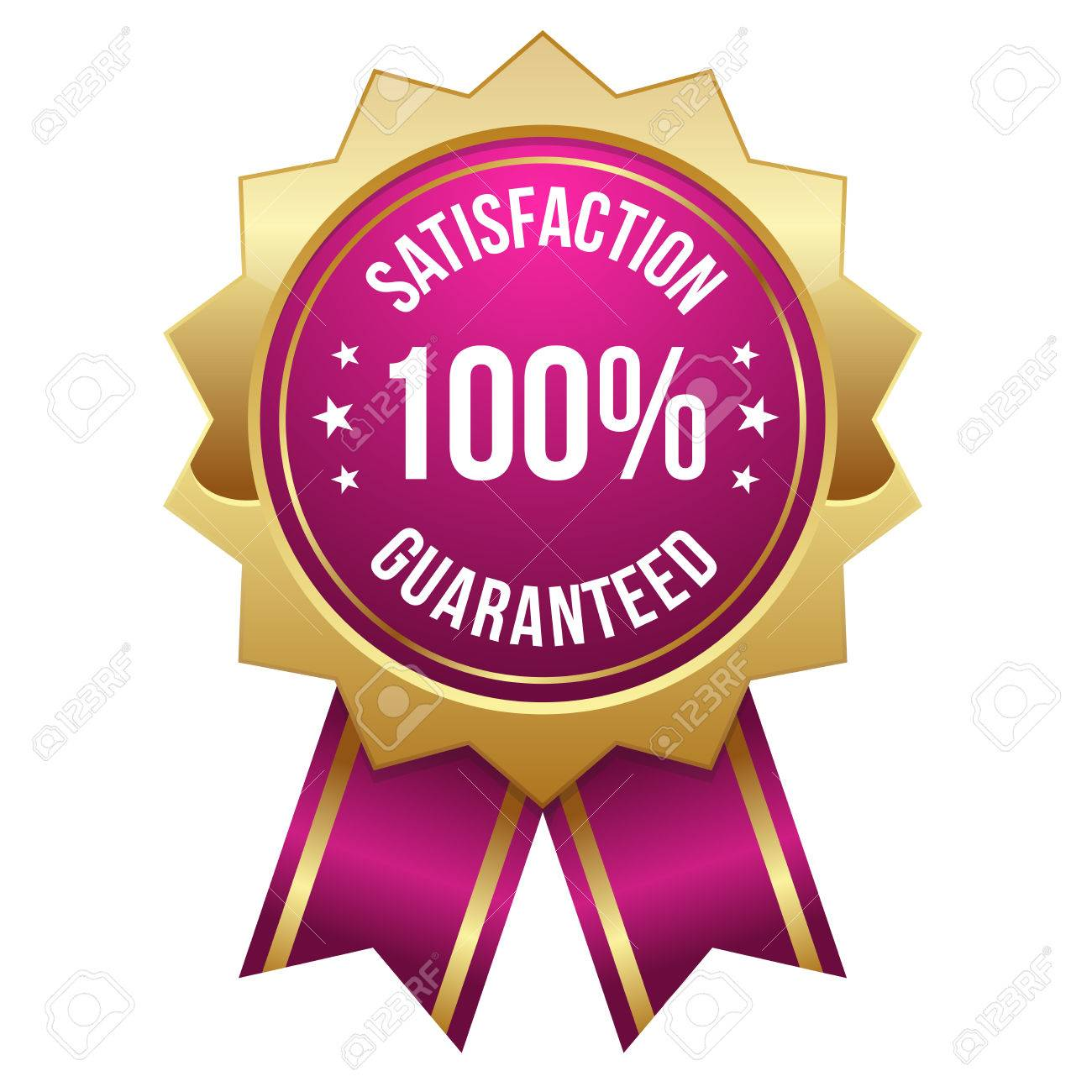 Pink Gold Hundred Percent Satisfaction Badge Royalty Free Cliparts,  Vectors, And Stock Illustration. Image 22603408.