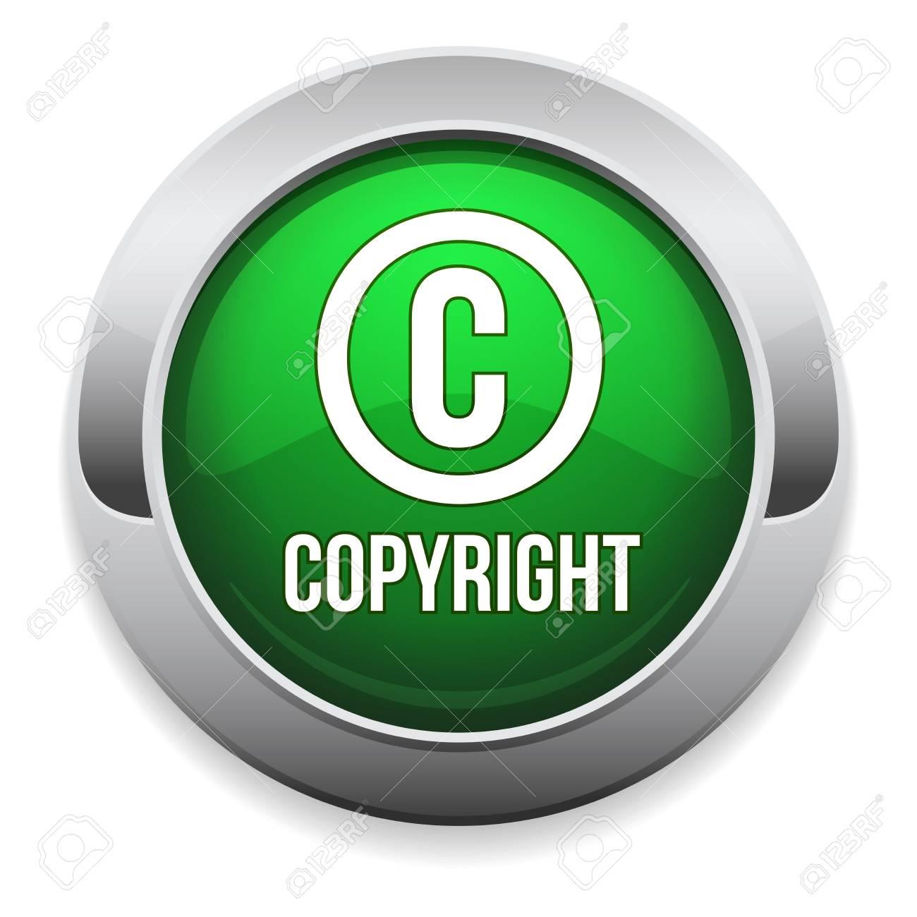 Green round copyright button with metallic border Stock Vector - 25779651