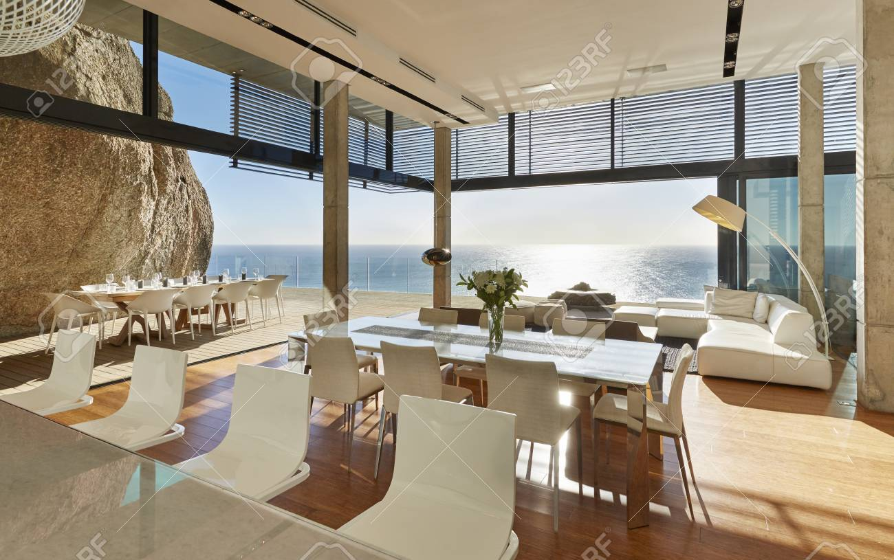 Modern luxury home showcase dining room and living room with..