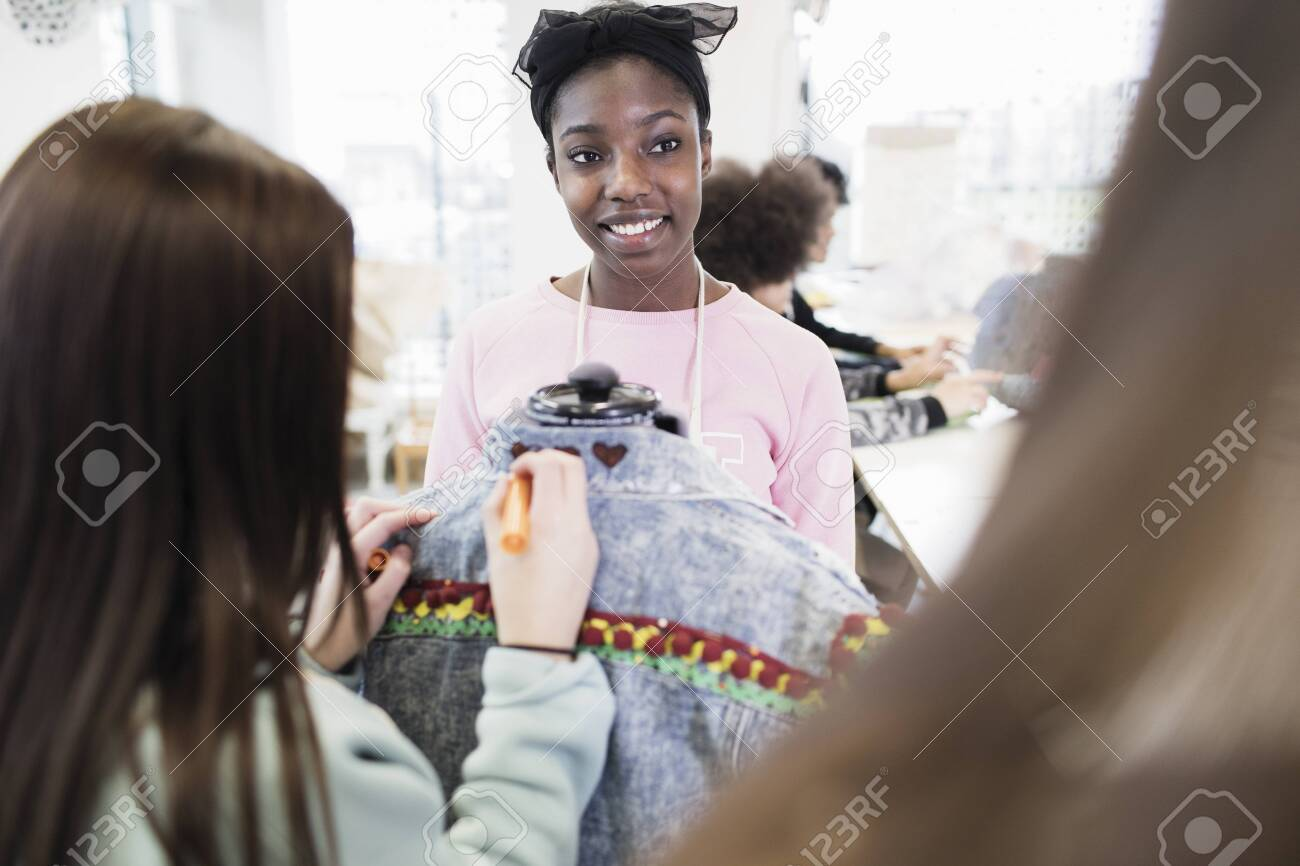 Teenage Girls Designing Denim Jacket In Fashion Design Class Stock Photo Picture And Royalty Free Image Image 108481889