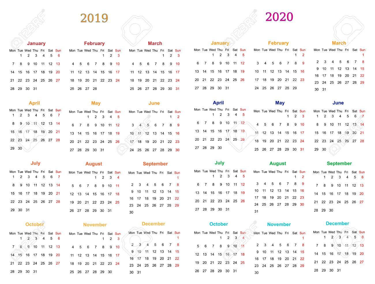 Calendario 2020 Editable Illustrator.12 Months Calendar Design 2019 2020 Printable And Editable