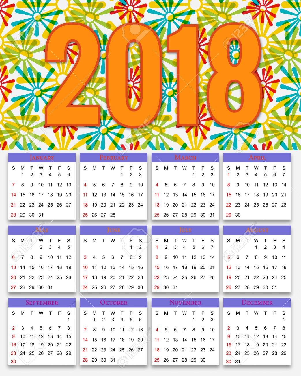 12 months calendar design 2018 printable and editable stock vector 85978999