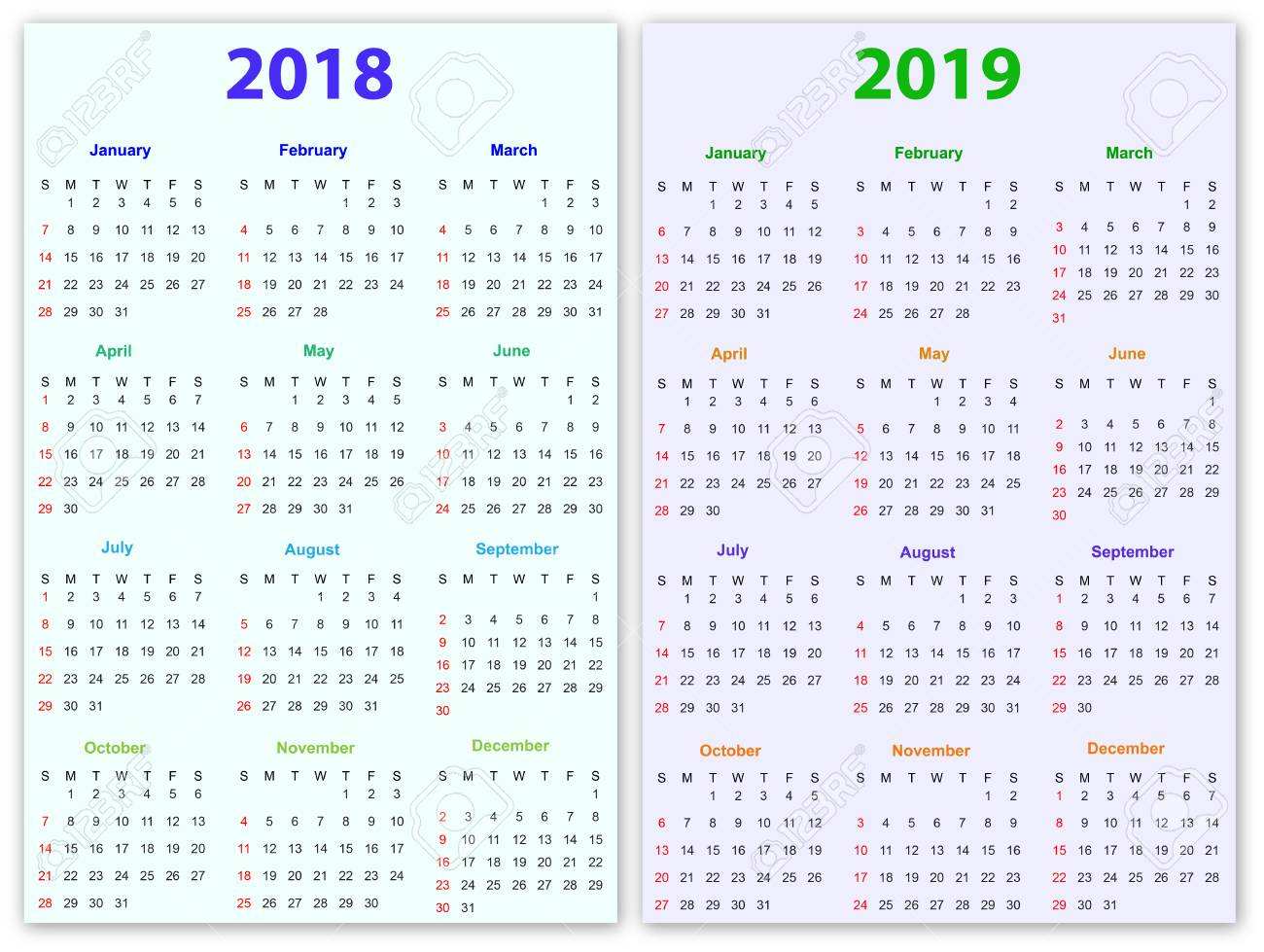 12 months calendar design 2018 2019 printable and editable stock vector 85979006