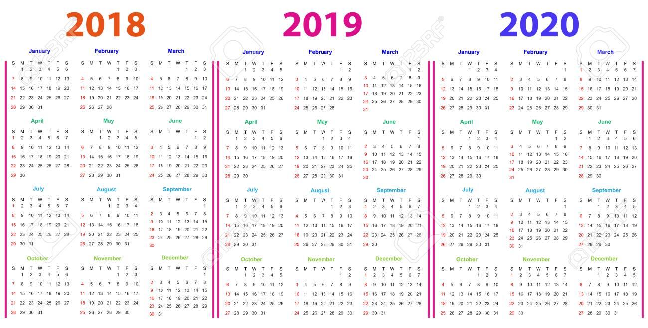 12 ヶ月カレンダー デザイン 2018年,2019,2020 印刷と編集可能。 写真