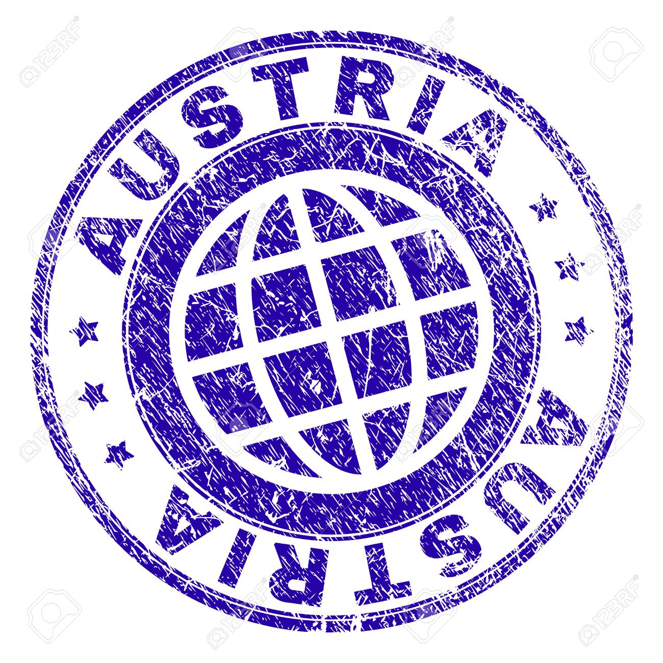 AUSTRIA Stamp Imprint With Distress Texture Blue Vector Rubber Seal Of Title