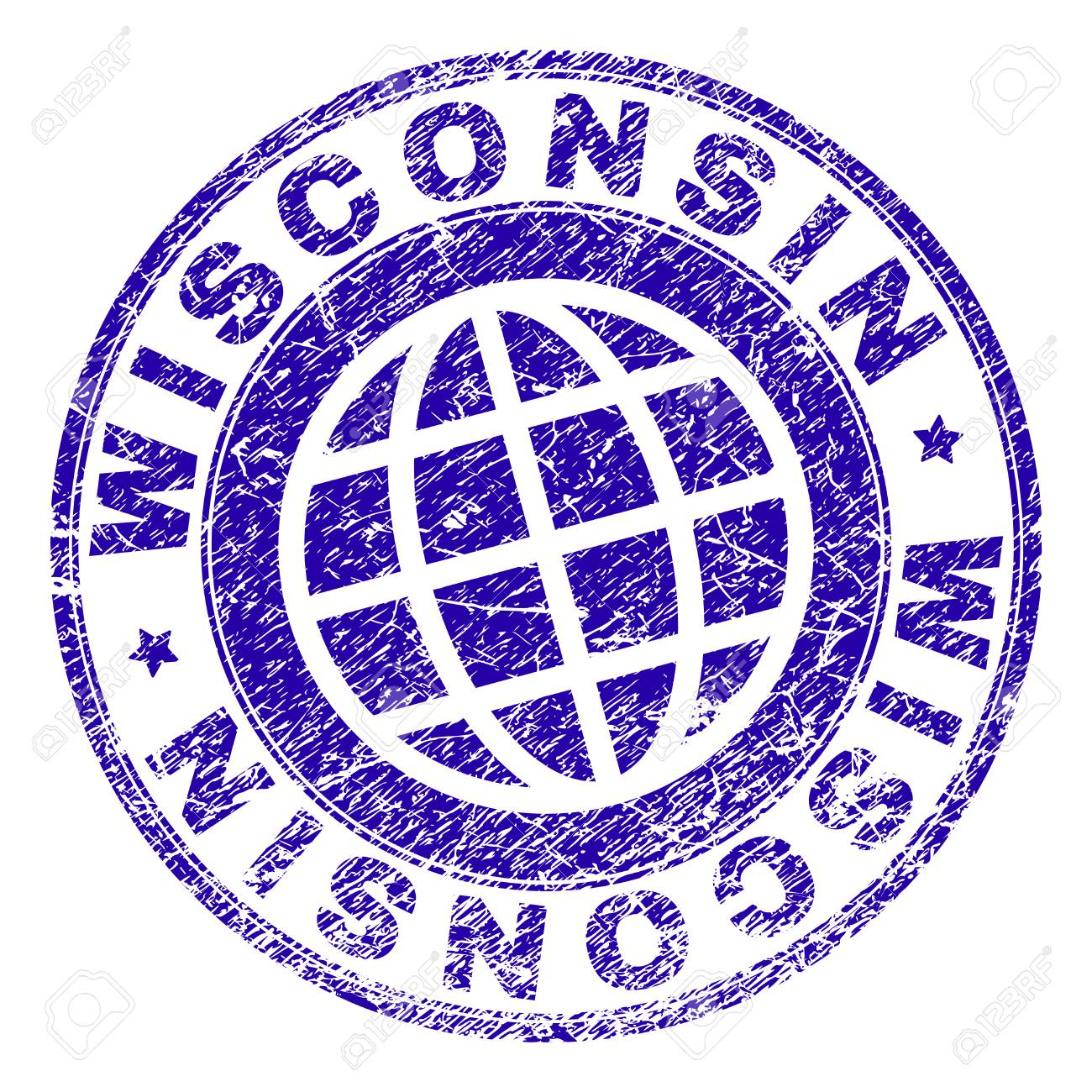 WISCONSIN Stamp Imprint With Grunge Texture Blue Vector Rubber