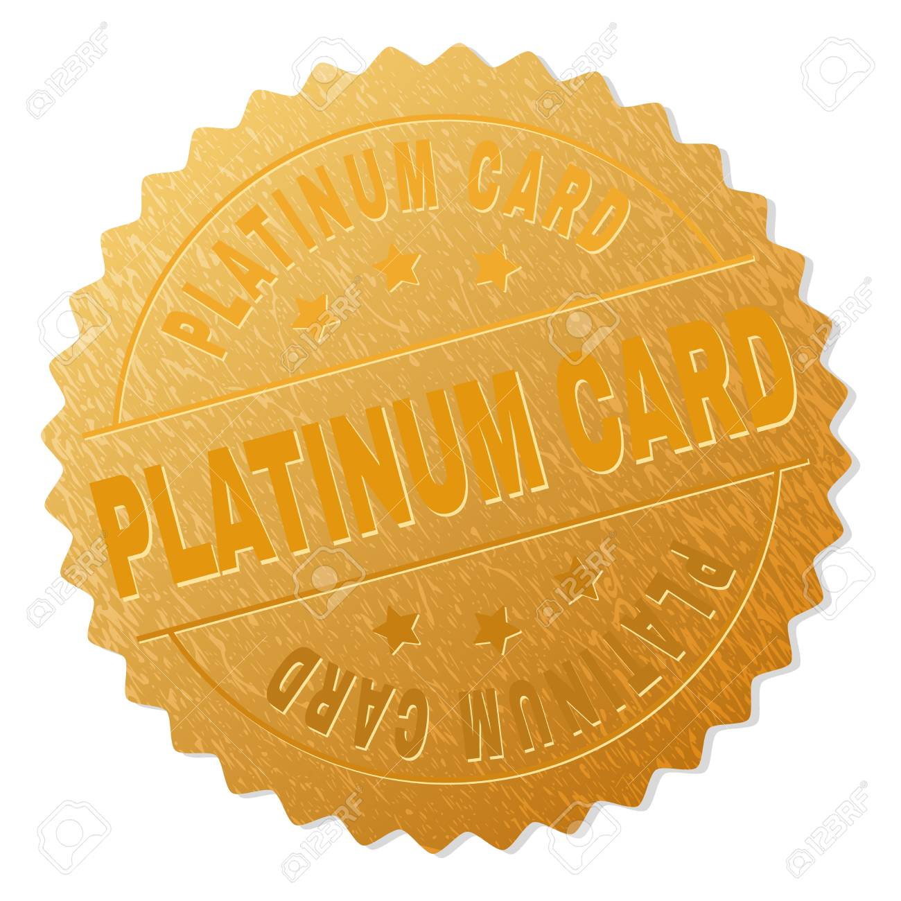 PLATINUM CARD Gold Stamp Award Vector With Text Labels