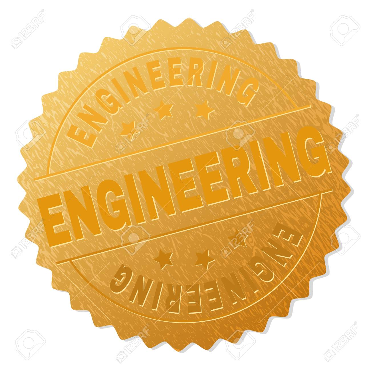 ENGINEERING Gold Stamp Badge Vector Golden Award With Text Labels Are Placed