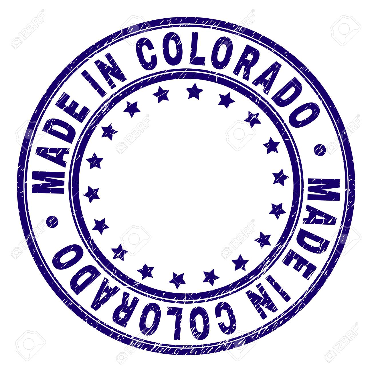 MADE IN COLORADO Stamp Seal Watermark With Grunge Texture Designed Round Shapes And Stars