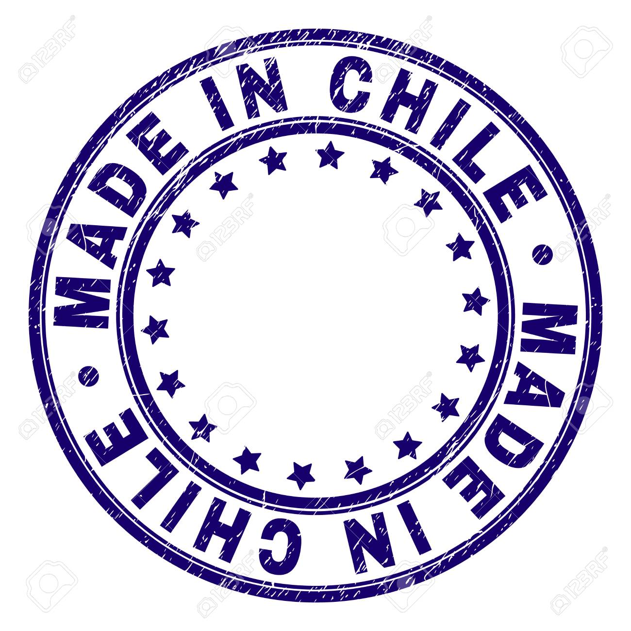 MADE IN CHILE Stamp Seal Imprint With Grunge Texture Designed Circles And Stars