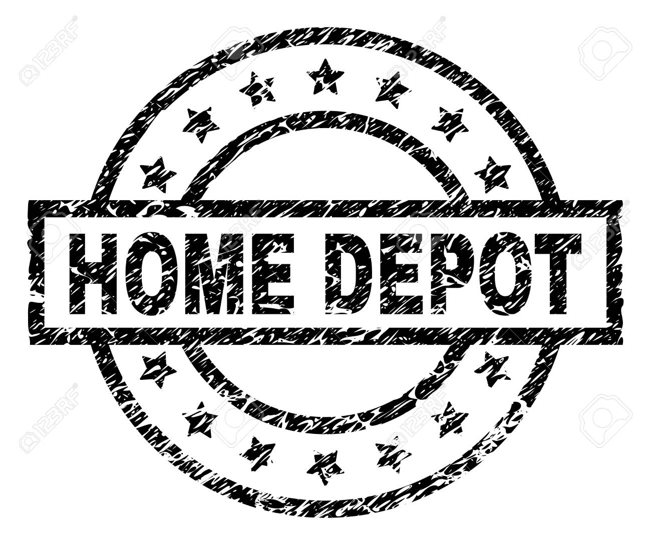 Home Depot Stamp Seal Watermark With Distress Style Designed With